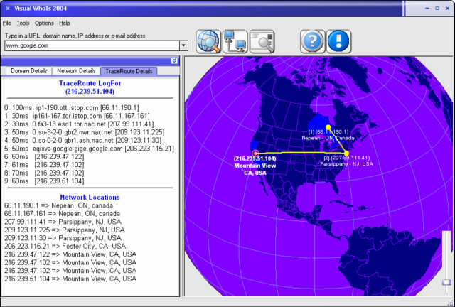 Visual WhoIs 2004 - Locate web sites, email and IP addresses on a 3D globe.